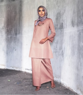 Basic Gulinear Kurung Riau Moden Dusty Pink