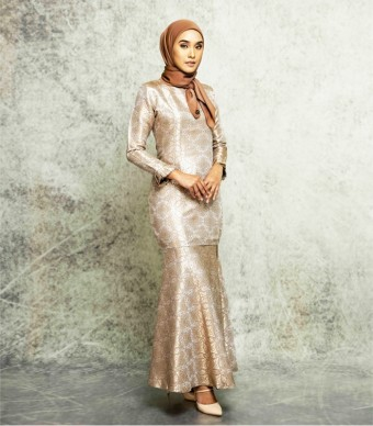 Songket Noura Pleated Kurung  Brown Gold