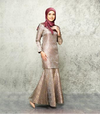 Songket Noura Pleated Kurung Grey-Maroon
