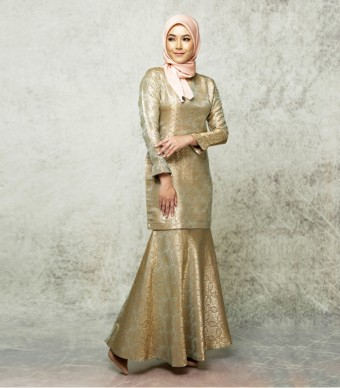 Songket Noura Pleated Kurung Pleated Orange-Gold