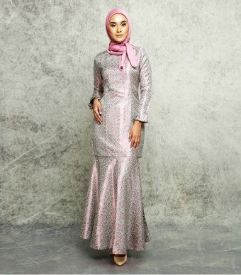 Songket Noura Pleated Pleated Kurung Pink Purple-Silver