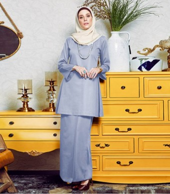 Basic Gulinear Kurung Riau Moden Dusty Blue