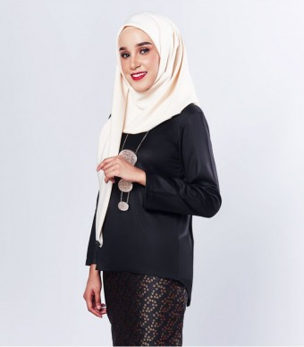 Ratna Kurung Songket Black + Skirt Black Dot