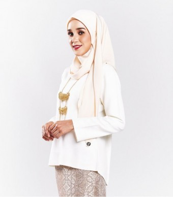 Ratna Kurung Songket Off White + Skirt Brown Gold