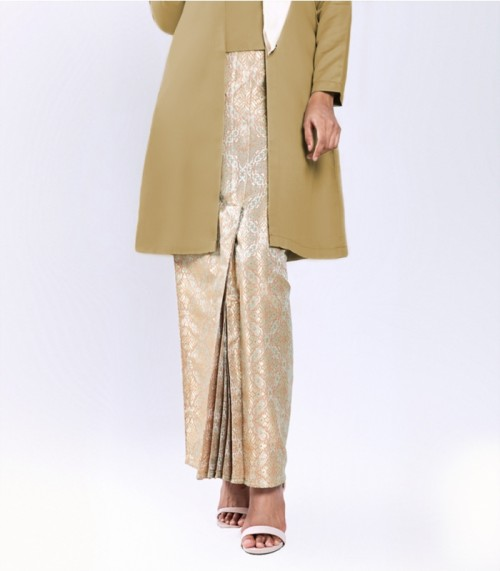 Widuri Kebaya Kota Bharu Songket Golden Brown + Skirt Orange Gold