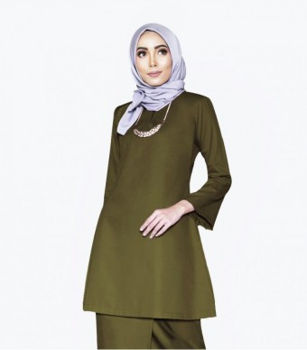Basic Gulinear Kurung Riau Moss Green