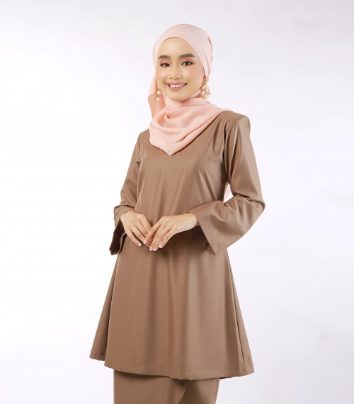 Aeda Scallop Kurung Brown