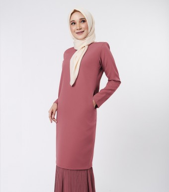Aora Kurung Moden Blush Red