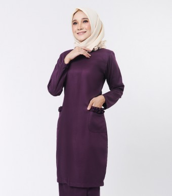 Basic Andalusia Kurung Modern Dark Purple