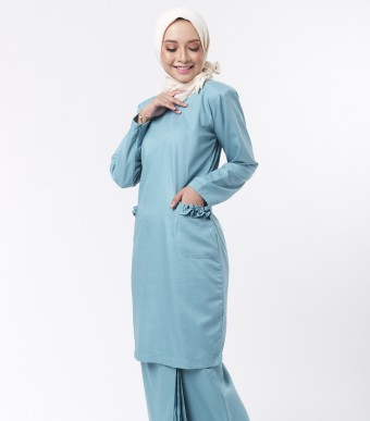 Basic Andalusia Kurung Modern Teal Green