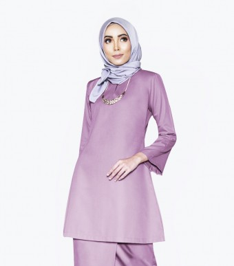 Basic Gulinear Kurung Riau Moden Dusty Purple