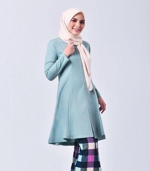 Plaid Citra Kurung Riau Dusty Green