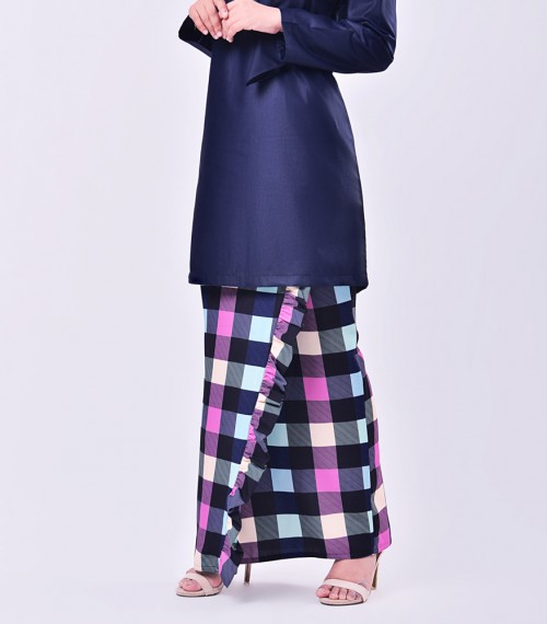 Plaid Embun Kurung Midnight Blue