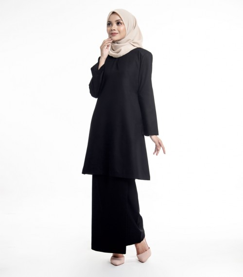 Basic Gulinear Kurung Riau Moden Black