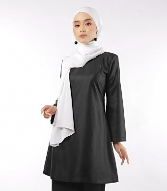 Aeda Scallop Kurung Black