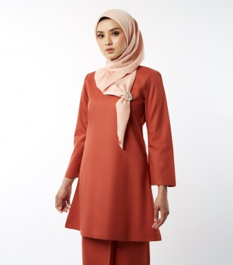 Basic Gulinear Kurung Riau Moden Burnt Orange