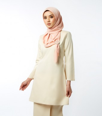 Basic Gulinear Kurung Riau Moden Cream