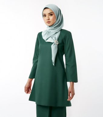 Basic Gulinear Kurung Riau Moden Dark Green