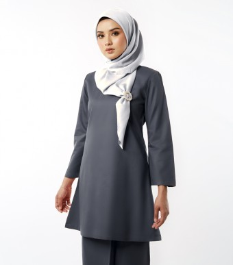 Basic Gulinear Kurung Riau Moden Dark Grey