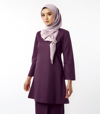 Basic Gulinear Kurung Riau Moden Dark Purple