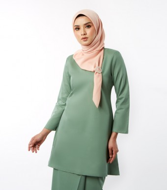 Basic Gulinear Kurung Riau Moden Green Tea