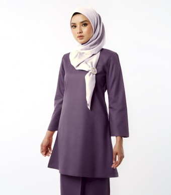 Basic Gulinear Kurung Riau Moden Mauve Purple