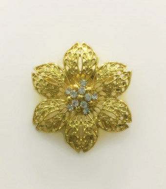 Brooch Windflower in Gold