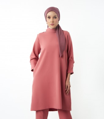 Evelyn Tunic Suit Blush Red
