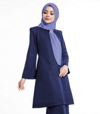Basic Gulinear Kurung Riau Moden Dark Blue