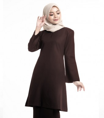 Basic Gulinear Kurung Riau Moden Dark Brown