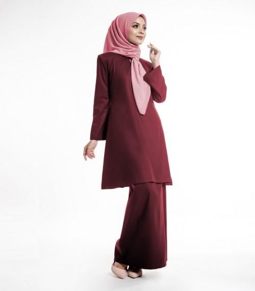 Baju Kurung Riau Moden Melayu Malaysia Maroon The Kebaya And