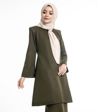 Basic Gulinear Kurung Riau Moden Seawed Green