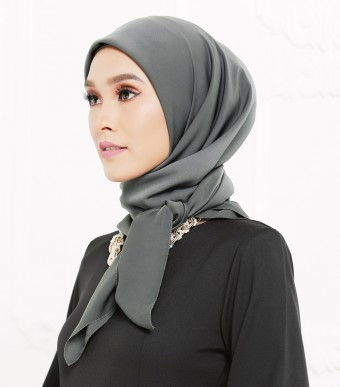 Rhania Square Scarf Dark Grey
