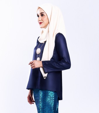 Ratna Kurung Songket Dark Blue + Skirt Turquoise Blue