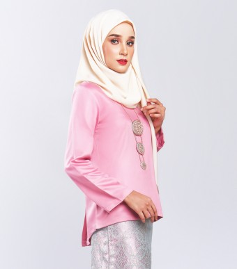 Ratna Kurung Songket Dusty Pink + Skirt Purple Pink Silver