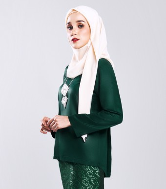 Ratna Kurung Songket Green + Skirt Double Green