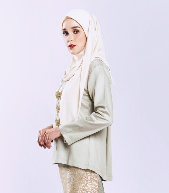 Ratna Kurung Songket Olive Green + Skirt Orange Gold