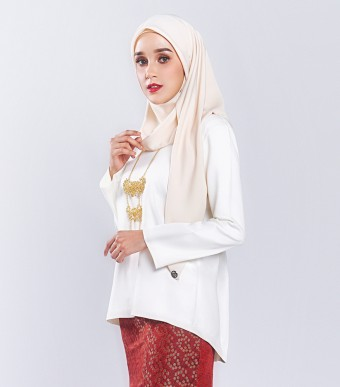 Ratna Kurung Songket Off White + Skirt Red Dot