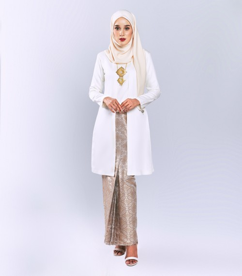 Widuri Kebaya Kota Bharu Songket Off White +  Skirt Brown Gold